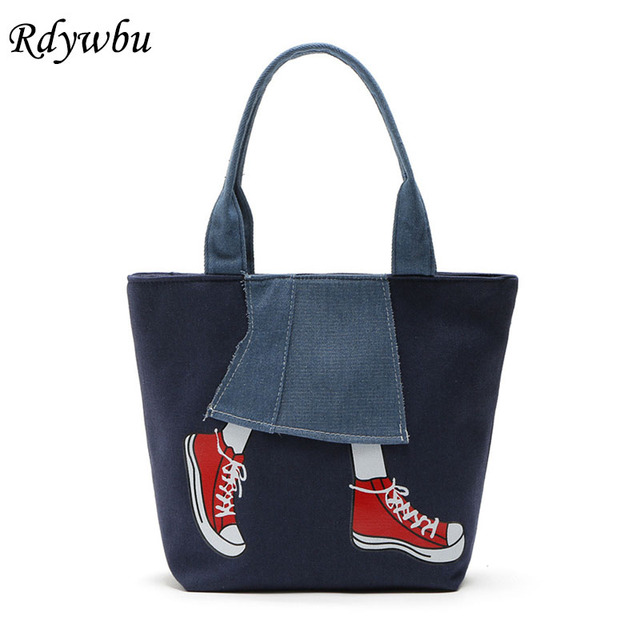 Rdywbu Cute Denim Shoulder Bags Women s New Casual Leg Shoe Printed Tote  Handbag Jean Travel Shopping Bag Mochila Bolsa B145 264abe1b57