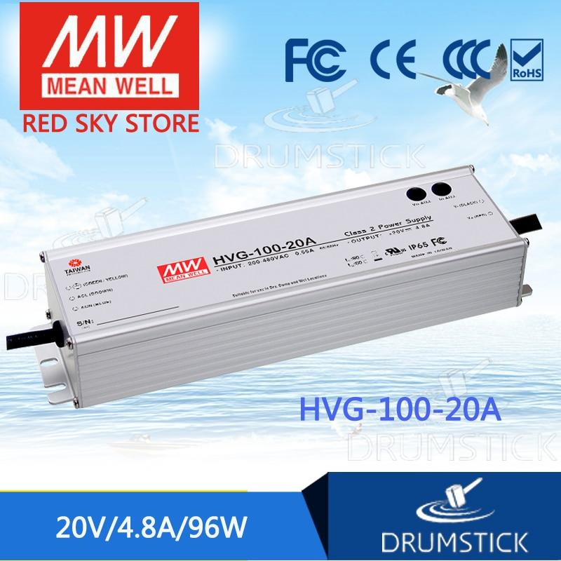 цена на MEAN WELL HVG-100-20A 20V 4.8A meanwell HVG-100 20V 96W Single Output LED Driver Power Supply A type