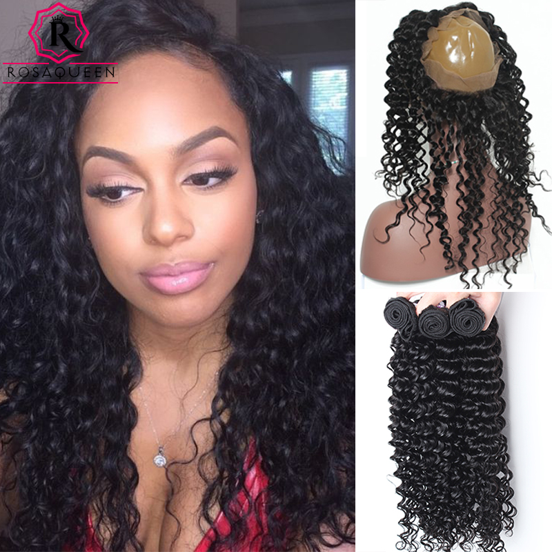 ФОТО Deep Wave With Closure 360 Lace Frontal With Bundle Brazlian Virgin Curly Weave Human Hair 360 Lace Frontal Closure With Bundles