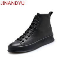 New Black Mens Casual Shoes Genuine Leather High Top Shoes men Lace Up Ankle Boots for Men Fashion Footwear White Shoes new 2016 high quality men genuine leather casual lace up shoes fashion flats luxury brand low top men shoes red white black