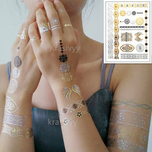 Temporary golden silver tattoos stickers new gold lace tattoos  body art flash tattoo paste makeup girls waterproof fake tattoos