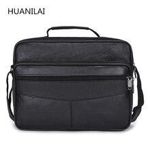 цена на HUANILAI  Men's Bags High capacity  Men Genuine Leather Bags Messenger Shoulder Bags Crossbody Bags Business Handbags TY017
