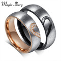 Magic Ikery couple ring fashion love heart couple rings for women men wedding engagement CZ ring unique vnox jewelry MKCR-051