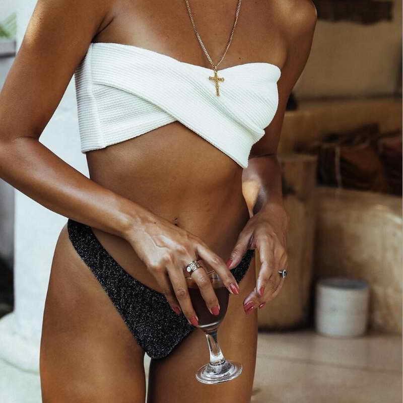 2019 Sexy Women Bikini Set Padded Push Up Underwire Gathering Shiny Micro Halter Swimwear Sling Two Piece Bathing Suit in Bikinis Set from Sports Entertainment