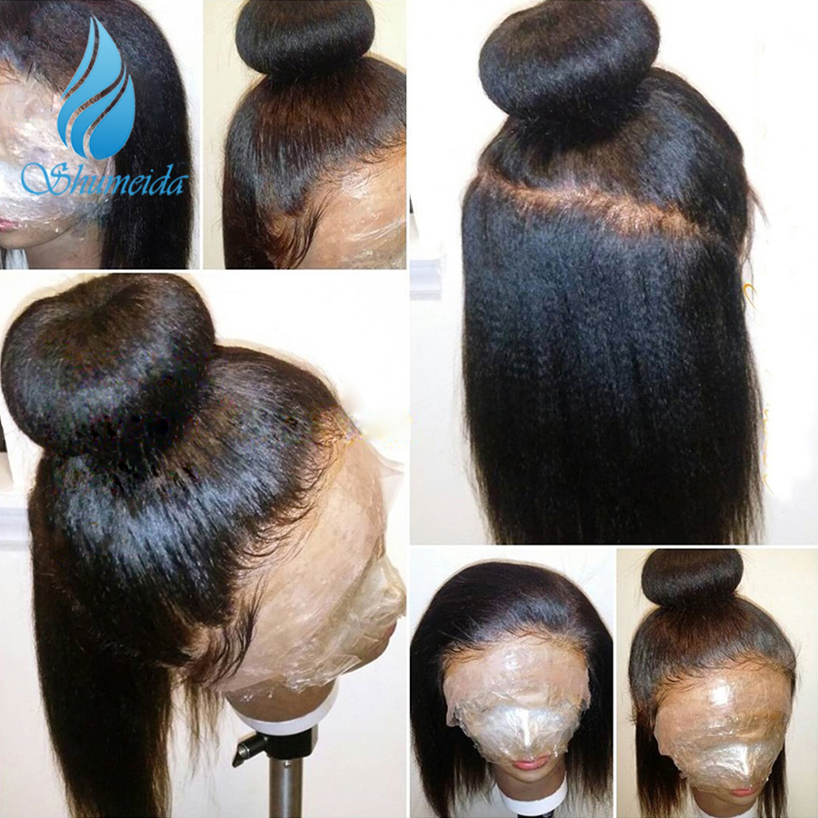 SHUMEIDA Glueless Full Lace Human Hair Wigs For Black Women Natural Color Remy Brazilian Kinky Straight