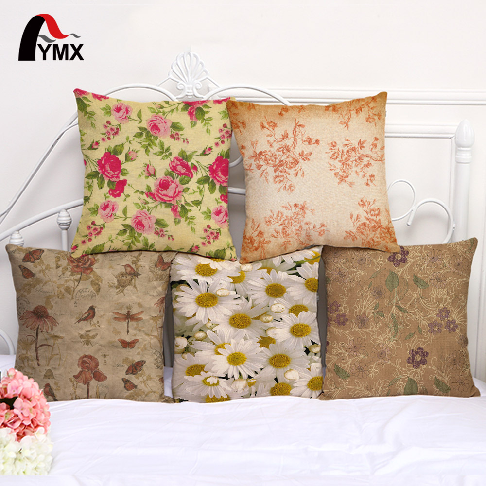 Rose Flower Printing Cushion Cover Daisy Cotton and Linen Pillow Case Sofa Car Pillowcase Cover Home Decoration