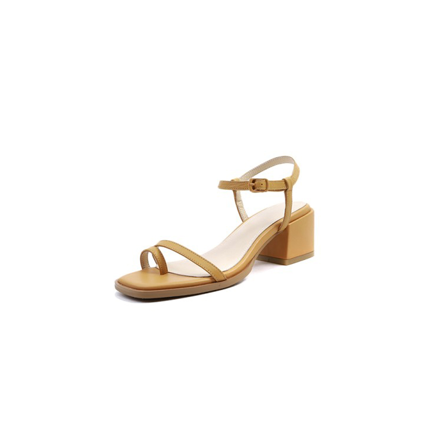 950f1f0984ee Stylesowner genuine leather solid color women sandals clip toe 5cm chunky  heel gladiator shoes strap buckle casual summer sandal-in Middle Heels from  Shoes ...