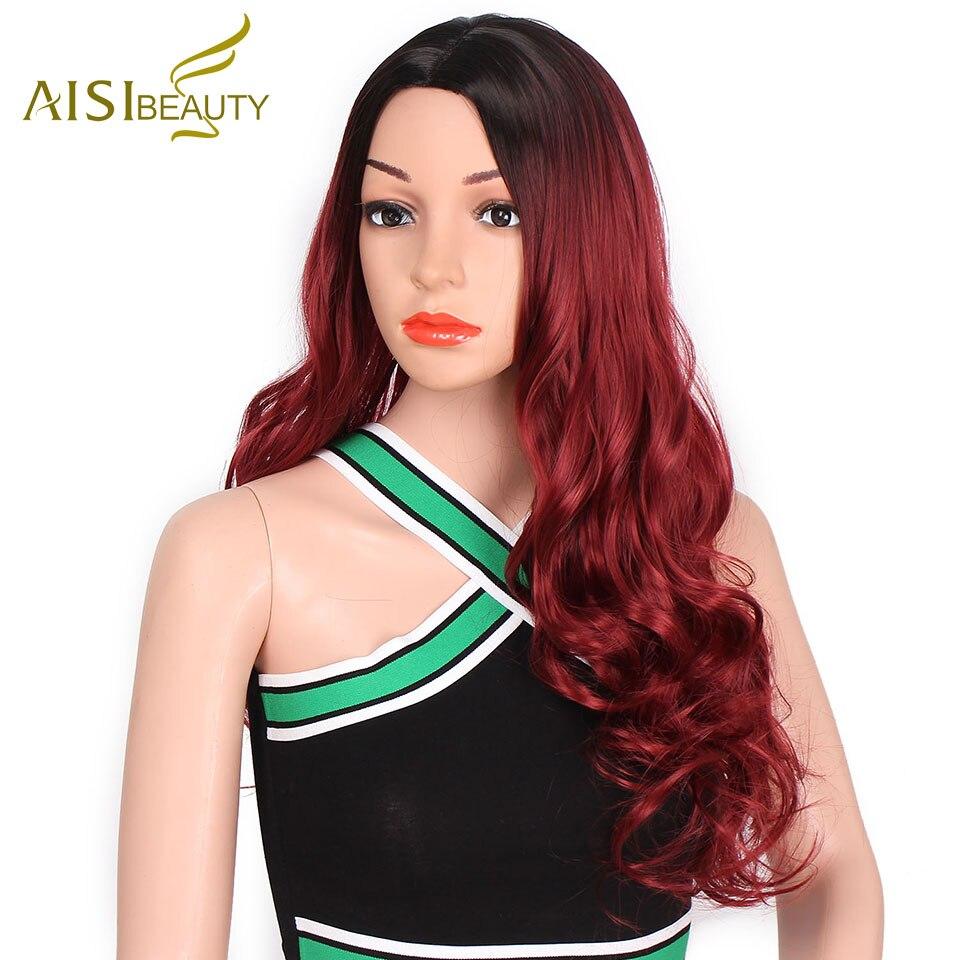 AISI Красота Длинные Природный волнистые ombre Красный Glueless волосы темные корни синтетические волосы для черный/белый Для женщин Косплэй тепла ... ...