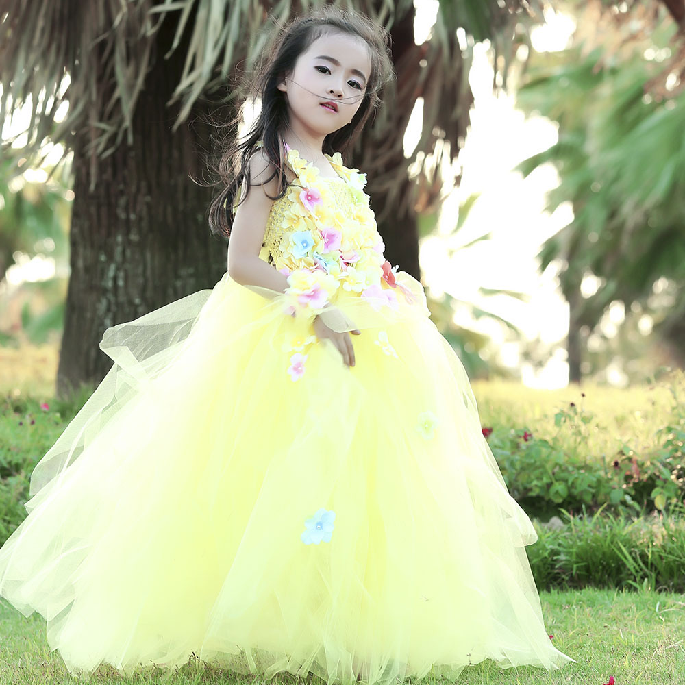 где купить Princess Tutu Baby Girl Lace Flower Tutu Dress Summer Hollw Out Sundress Kids Formal Birthday Wedding Party Clothes Size 2-10Y дешево