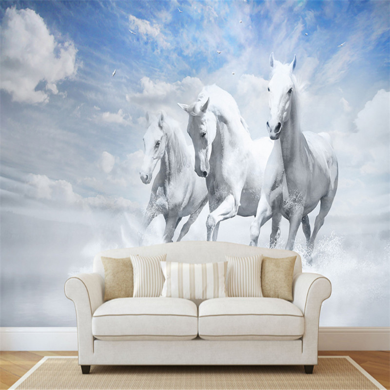 customized european-style 3d photos wallpaper wall mural 3d wallpaper horse pentium TV sofa background wall for living room new can customized waterproof wall stickers art 3d large big wallpaper sky mural restaurant sofa tv background home decor