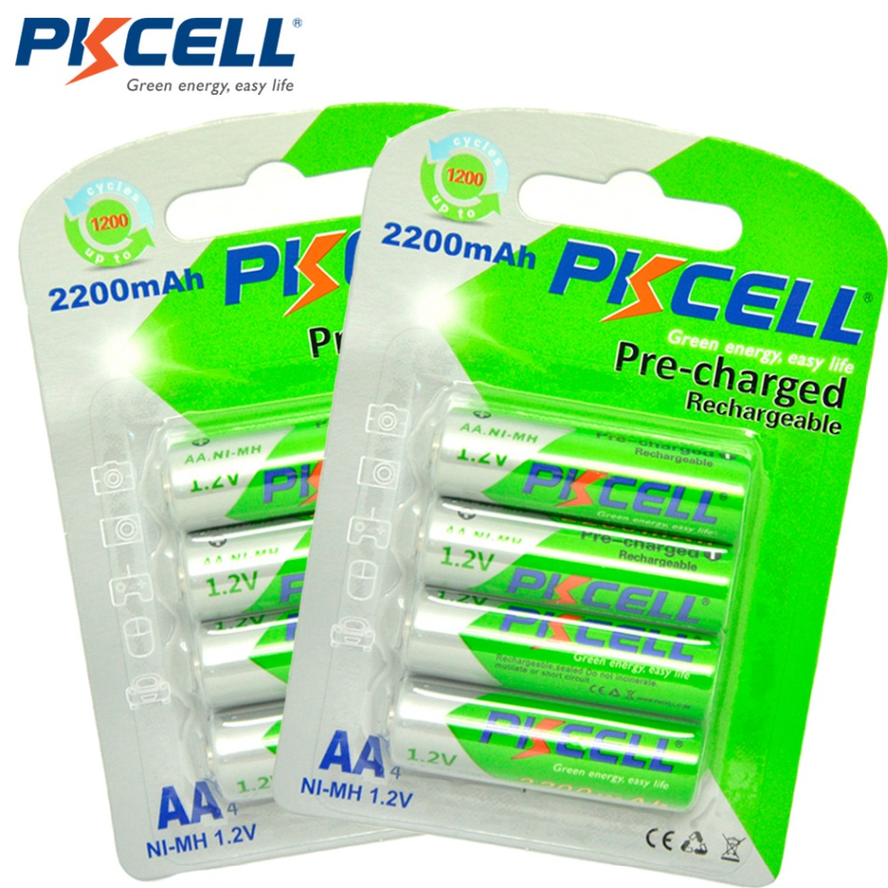 8pcs/2card PKCELL AA Rechargeable Battery AA NiMH 1.2V 2200mAh Ni-MH 2A Pre-charged Bateria Rechargeable Batteries for Camera
