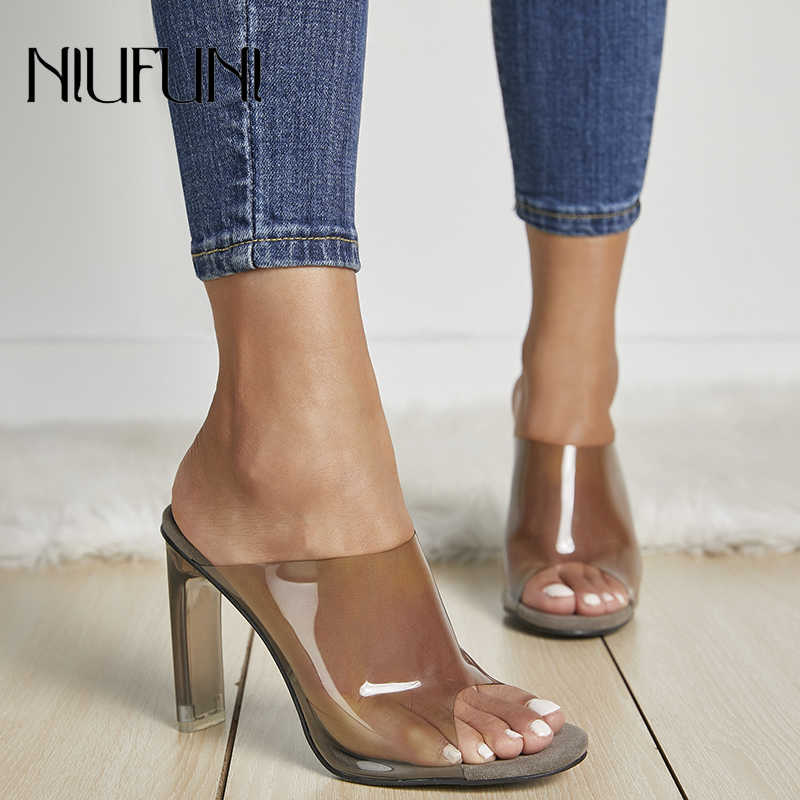 New Arrival 2019 Transparent 11 CM High Heels Clear Heeled Peep Toe Woman  Slides Slippers Fashion 1b0cd359d83a