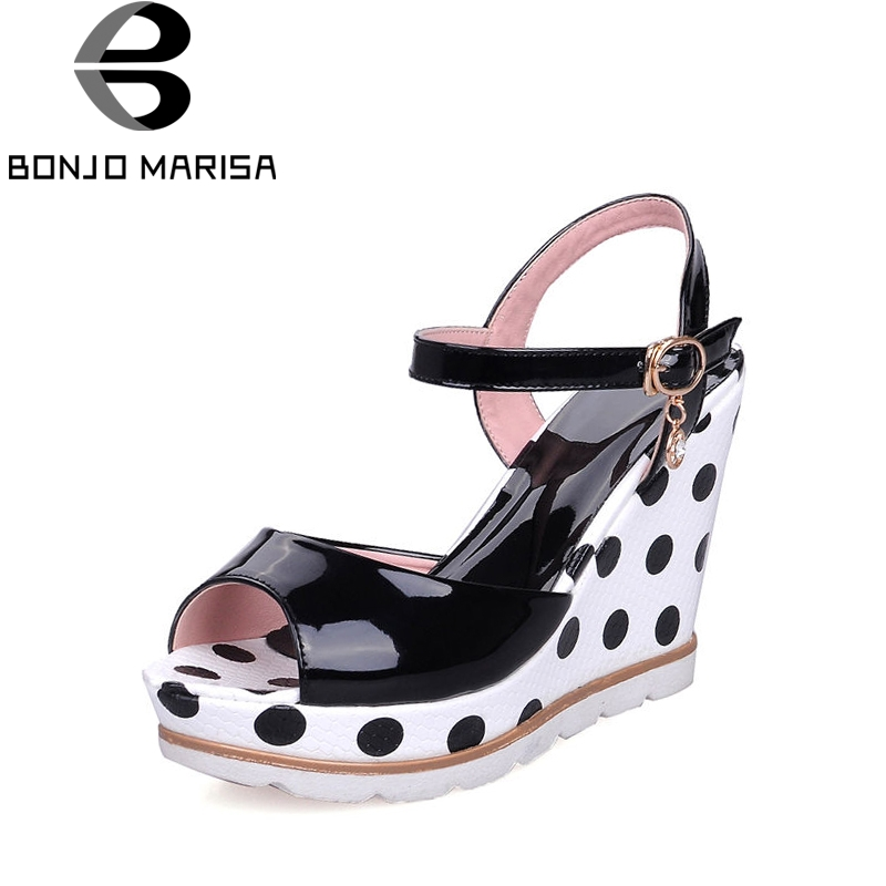 BONJOMARISA Women's Polka Dot High Heel Wedge Summer Shoes Woman Ankle Strap Open Toe Platform Sandals Big Size 33-41 lf30834 red black white polka dot ankle strap wooden wedges platform clogs party sandals
