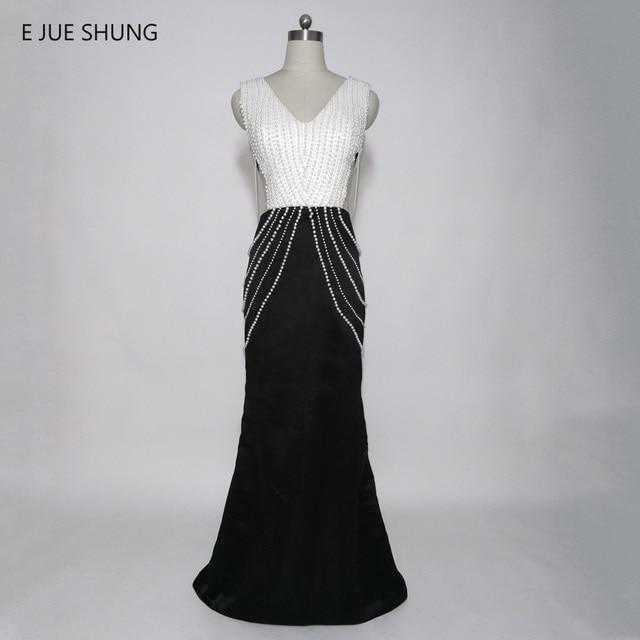 E JUE SHUNG White Pearls Black Mermaid Evening