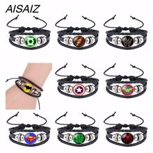 2018 NEW America Super Hero Superheroes Batman Spider-Man Iron Man Superman Logo Leather Bracelet Boys Glass Cabochon Bracelet(China)