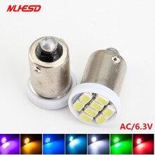 100 PIÈCES Ba9s 44 47 T11 T4W Baïonnette AC 6V/6.3V 1206 3020 8SMD LED Flipper Ampoule Lampe Non ghosting/anti scintillement
