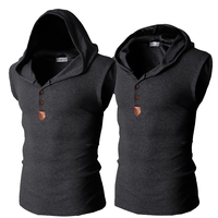 Mens Compression T Shirts Fight Hooded Vest Urban Fashion Cool Sleeveless Tops Tees Shirts Combat Camisa