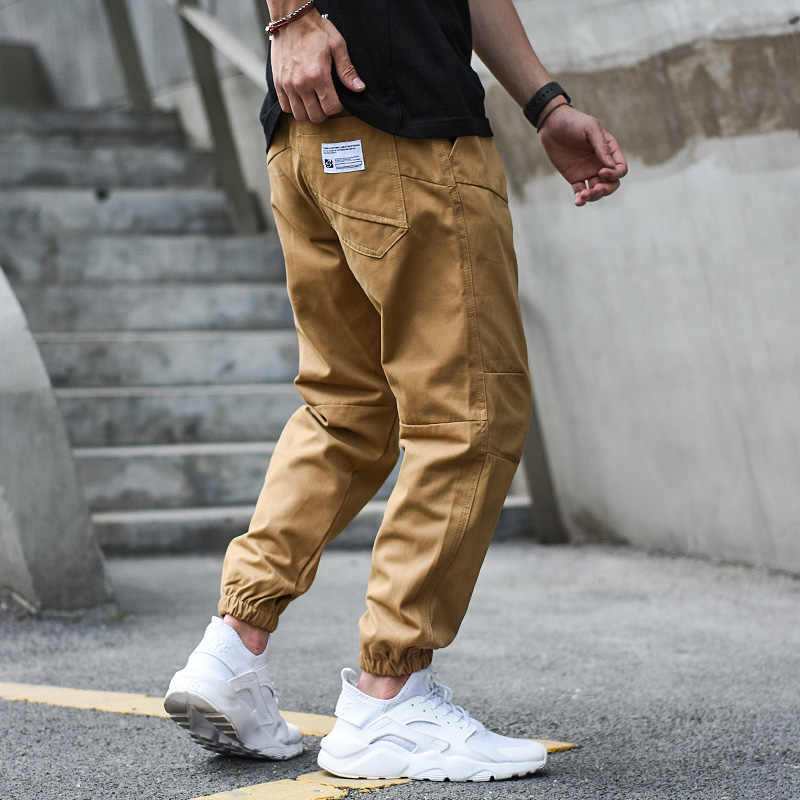 Japanese Style Vintage Fashion Men Jeans Jogger Pants Elastic Waist Buckle Loose Fit Cargo Pants Khaki Black Color Hip Hop Jeans Jeans Aliexpress