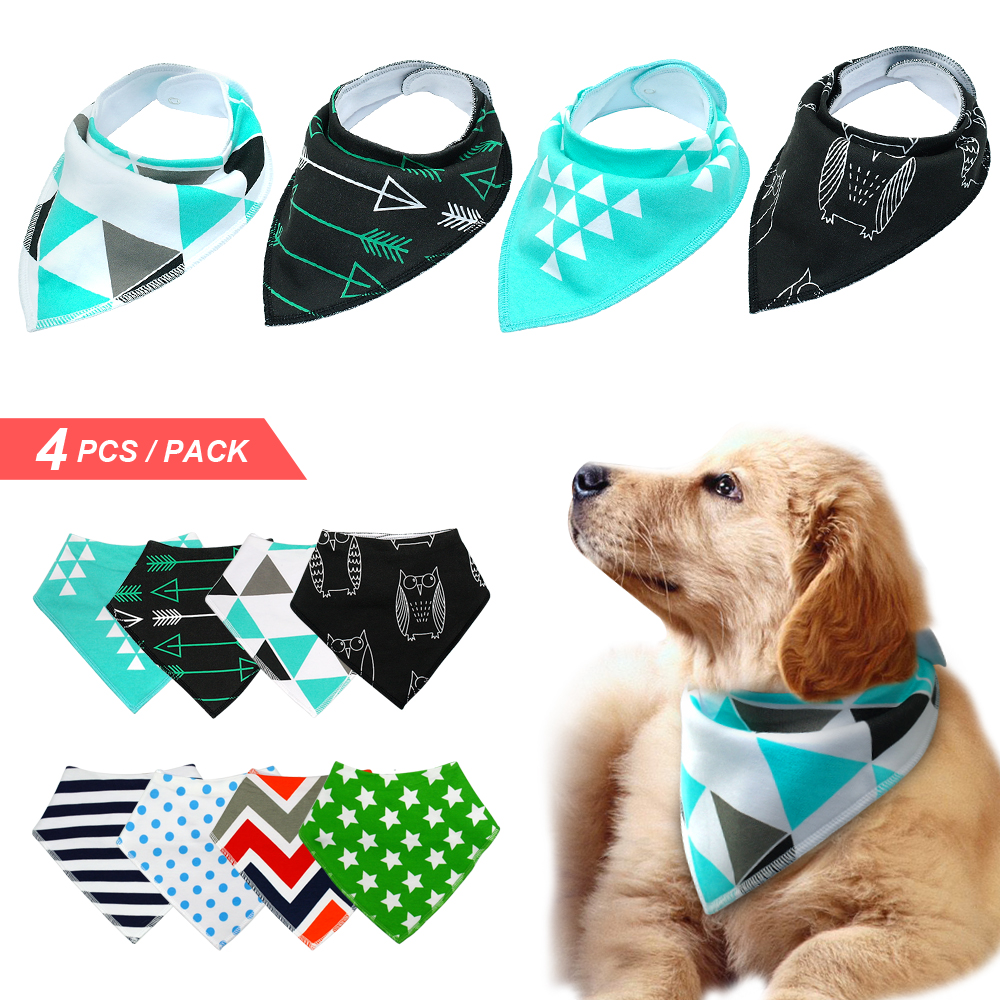 4pcs Dog Bandana Bib Scarf Cotton Pet Dogs Grooming Accessories Collar Bandage for Medium Large Pet Fashion Design Собака