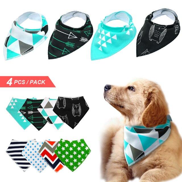 4 pz Cane Bandana Bavaglino Sciarpa del Cotone Pet Cani Grooming Accessori Colla