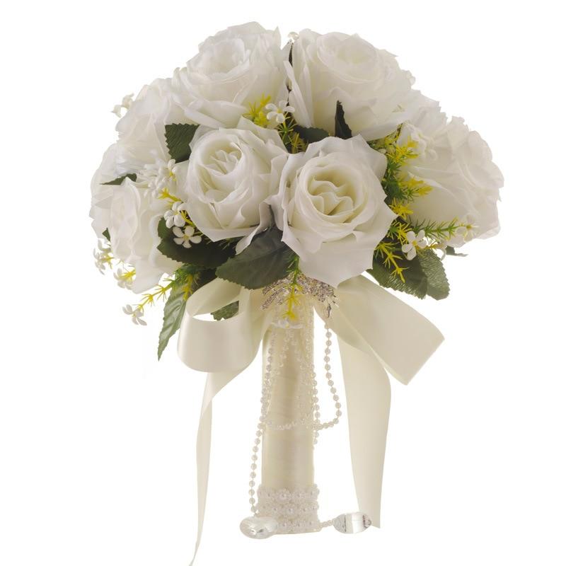 2019 Weiße Rose Hochzeit Blumen Braut Sträuße Handgemachte Künstliche Blume Buque Casamento Braut Bouquet Für Hochzeit Dekoration