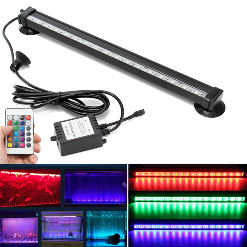 IP68 RGB LED Ligth Bulb Tube 12/26/32/46cm Remote Control Fish Tank Aquarium Lamp 18 SMD Air Bubble Light Strip Submersible new arrival led aquarium fish tank light bar 58cm 30 led smd 505 rgb led light submersible lamp ip68 waterproof with ir remote