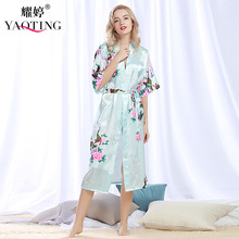 New Brand Sexy Robes Sets Women Silk Satin Robe Bathrobe Set Sexy Night Dress Nightdress Nightgown