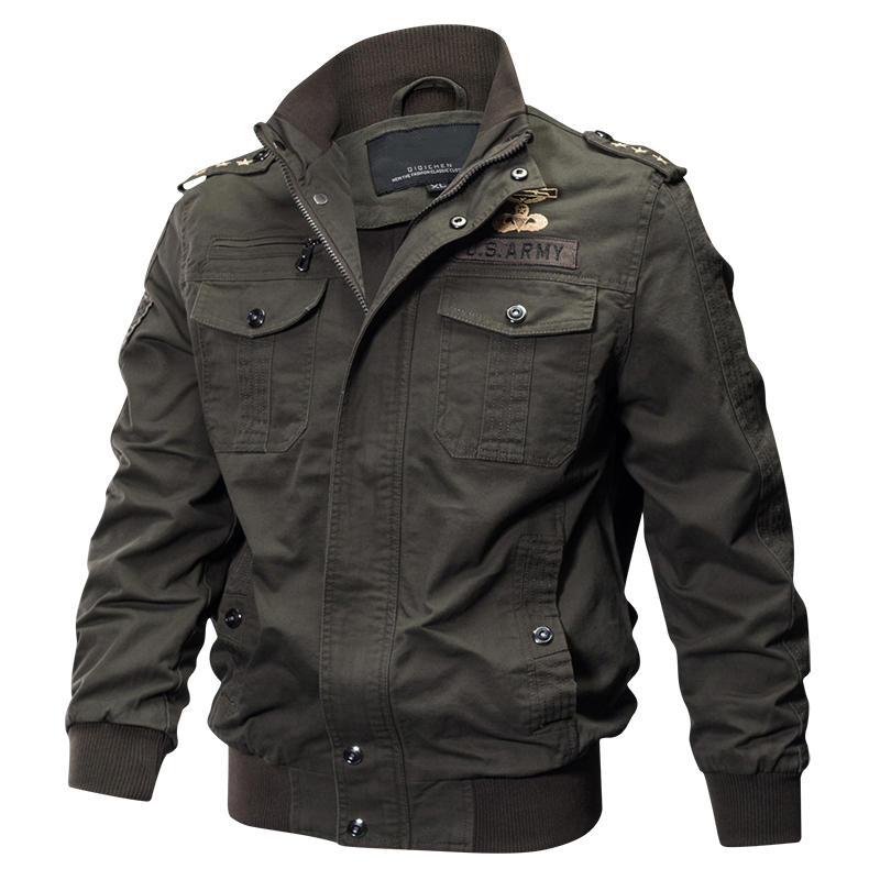 2018 Plus Size Military Jacket Men Spring Autumn Cotton Pilot Jacket Coat Army Men's Bomber Jackets Cargo Flight Jacket Male 6XL 16