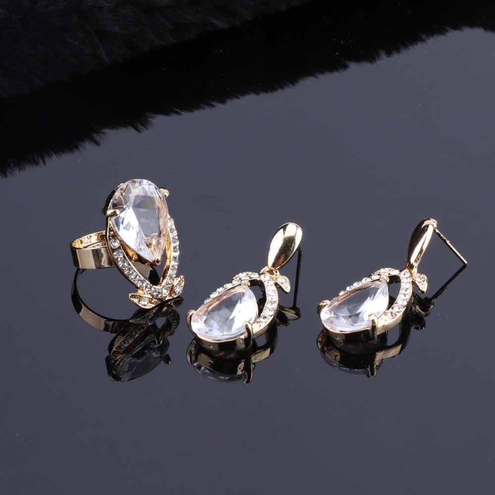 Hohe Qualität Zirkon Hochzeit Schmuck Sets Ohrringe Halskette Ring Armband mit Klaren Steinen Mode Geschenke Für Frauen