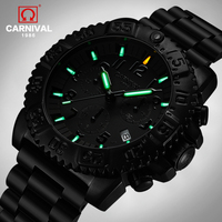 2019 New Carnival Series Tritium Luminous Men's Sport Diving Watches Military Waterproof 200M Black Steel Strap Men Watch