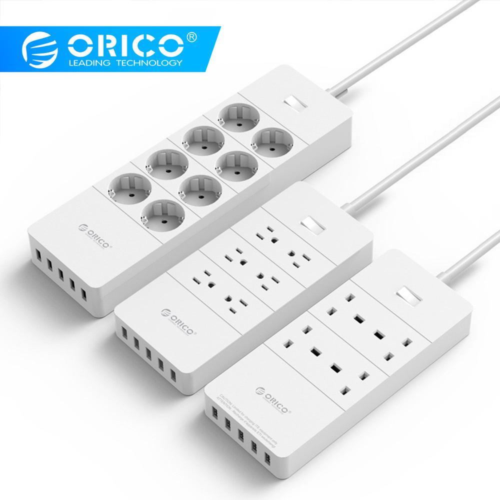ORICO White EU Plug 5 USB Port Home office 4 Outlet Power Strip Surge Protector