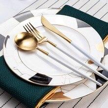 Korea Royal Golden Cutlery Set Stainless Steel Table Fork Spoon Bone China Western Plate Restaurant Tableware