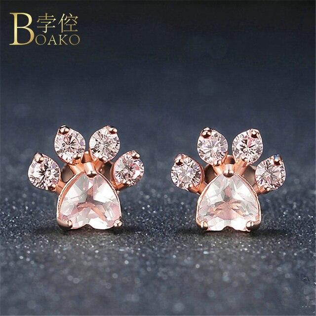 Boako Shiny Pink Stud Earrings Cz Bear Jewelry Dog Paw Print Earring Female Piercing Rose Gold