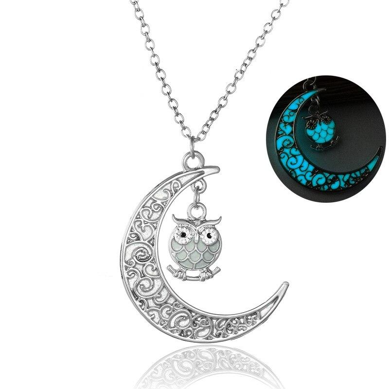 Mulheres Coruja Luminosa Lua pingente colares Brilham No Escuro animal charme cor Prata correntes Para Meninas Moda Jóias acessó