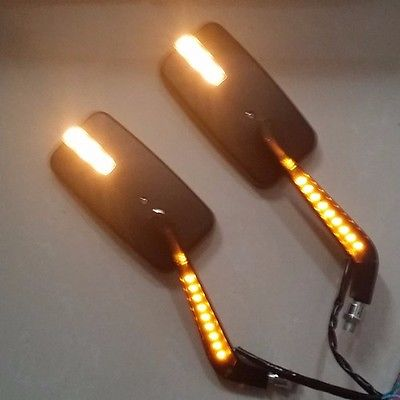 M10 10mm Motorcycle Led Turn Signal Running Light Side Rearview Mirror For Honda Kawasaki Suzuki Street Naked Cruiser Custom