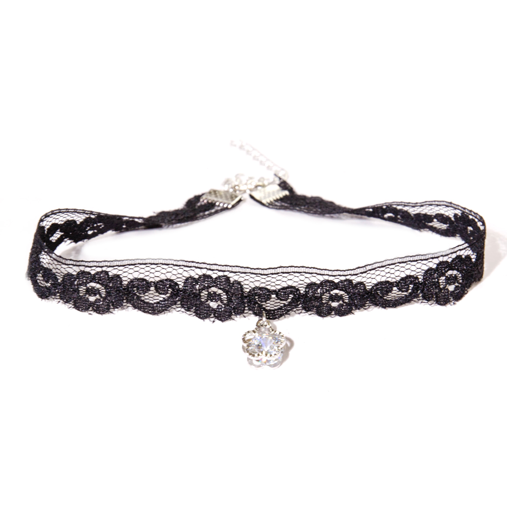 Cute Mini Alloy Flower Pendanr Black Lace Choker Necklace For Women Or Girl