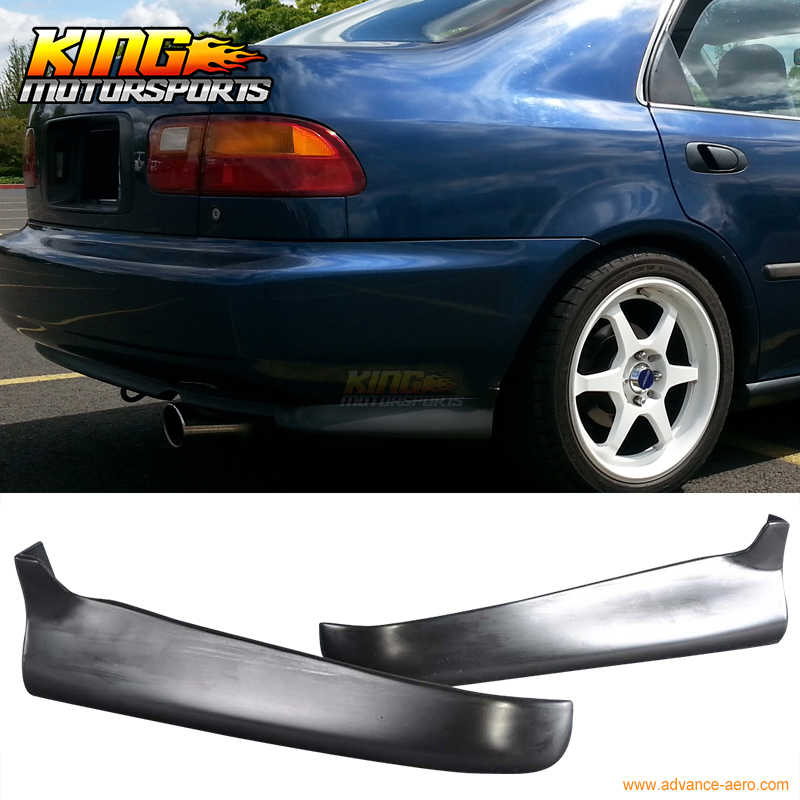 For Honda Civic 92-95 2 4Dr PU 2Pc Rear Bumper Lip Spoiler Valance Spats