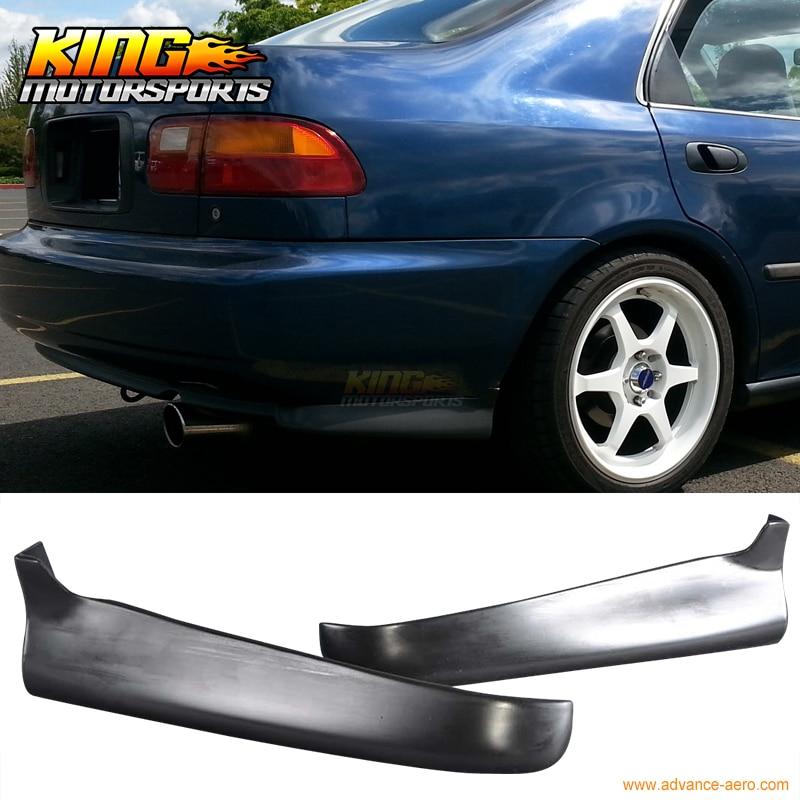 For Honda Civic 92-95 2 4Dr PU 2Pc Rear Bumper Lip Spoiler Valance Spats