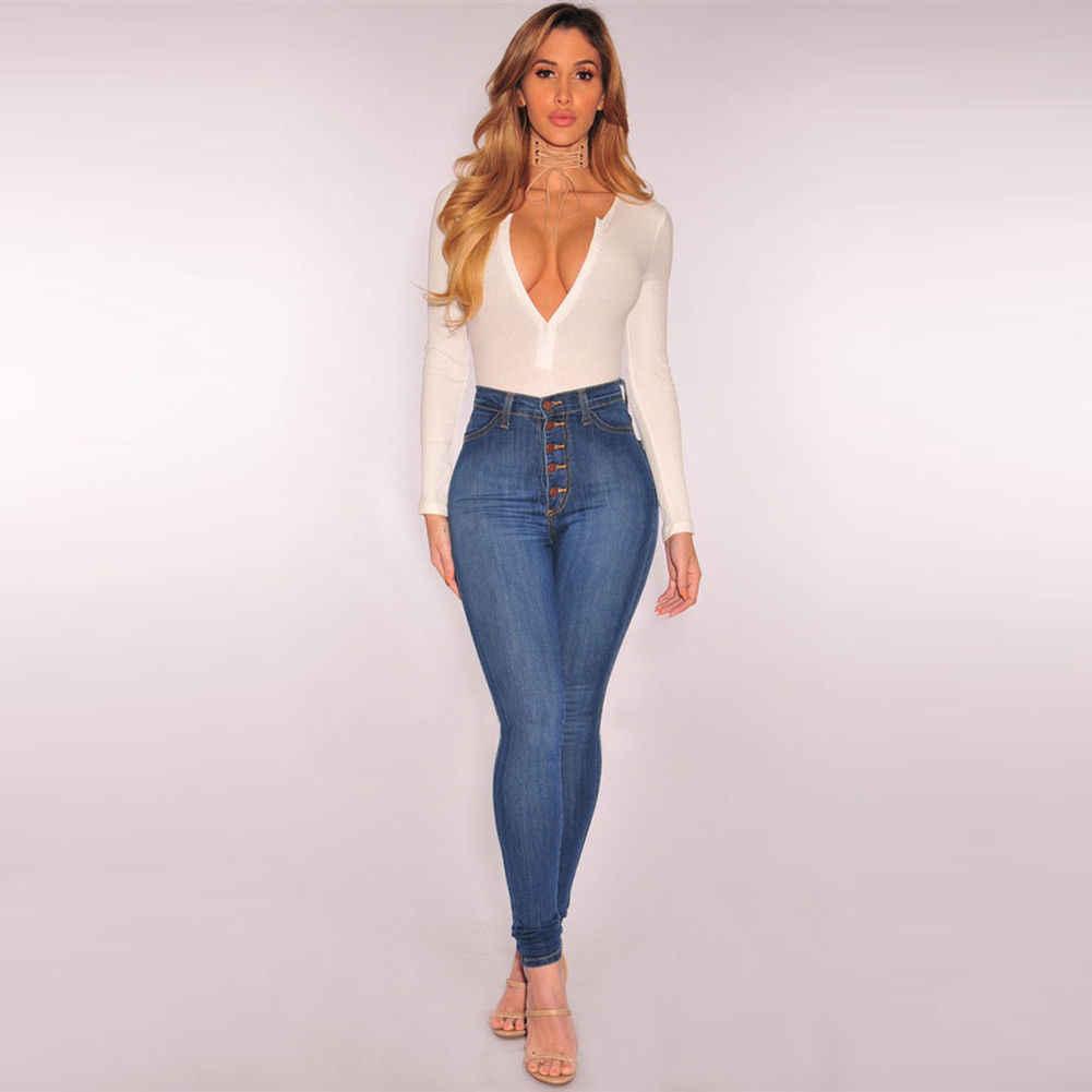 Las Senoras De Las Mujeres De Cintura Alta Pantalones Vaqueros Ajustados Tipo Lapiz Jeans Elasticos Pantalones Slim Fitness Pantalones Vaqueros Ajustados En Azul Ladies High Waist Jeans High Waist Jeanshigh Waisted Jeans Skinny
