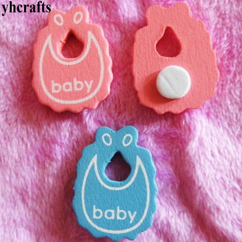 10PCS/LOT Blue pink bib wood stickers Kindergarten decorative stickers Kids diy crafts Fridge stickers Wall stickers Toys OEM