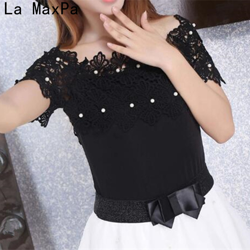 2019 New Hollow Out Women Sexy Short Sleeve   Blouse   Fashion Elegant   Blouses   Women Lace Patchwork   Blouse     Shirt   Casual Women Top
