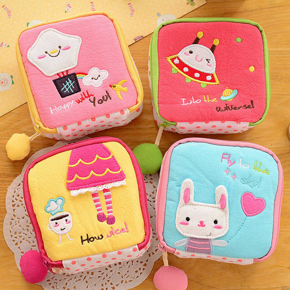 1PCS Cotton Sanitary Napkin Organizer Storage Korean Style Woman Hold Pads Carrying Bags Small Articles Purse Pouch Case