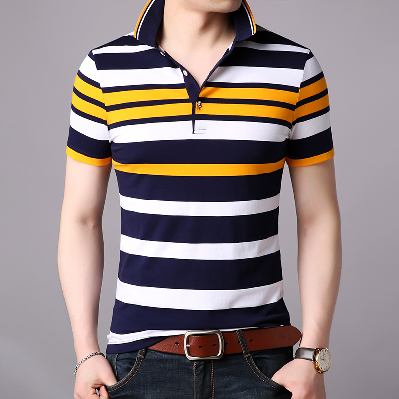 2019 New Fashions Brand Summer Polo Shirt Mens Top Grade Striped Short Sleeve Slim Fit Top Grade Poloshirt Casual Mens Clothing