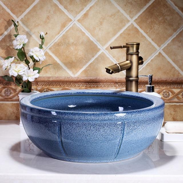 Merveilleux Europe Vintage Style Round Shaped Ceramics Vanity Basin Art Countertop Sinks  Vanity Wash Basin Bathroom Porcelain