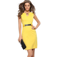BUYBAY PHILIPPE 2018 Spring and Summer New Metal Buckle Sexy V Collar Dress Temperament Pencil Work Office Women Dresses