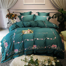 New Green 100S Egyptian cotton Luxury Flowers Embroidery Palace Bedding set Queen King Duvet Cover Bed Linen/sheet Pillowcases
