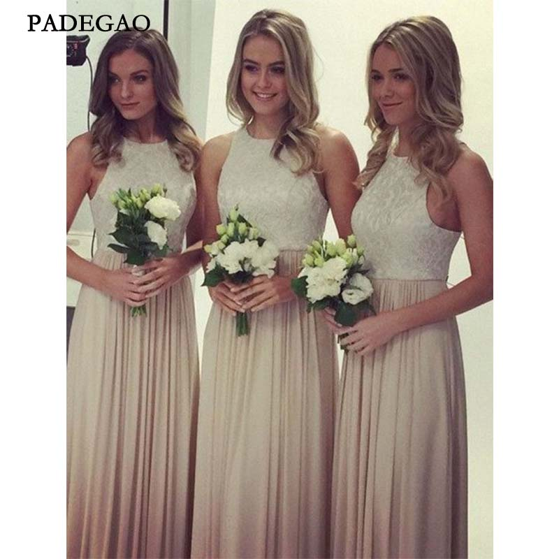 2019 Elegant Long   Bridesmaids     Dresses   Sleeveless Customized Chiffon   Bridesmaids     Dresses   With Lace Prom Custom Made