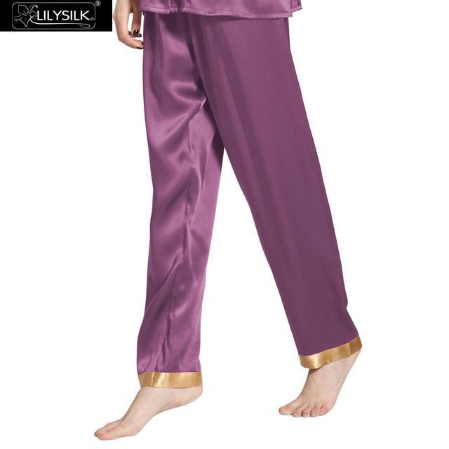 Lilysilk Mujeres Pantalones Largos Pantalones de Pijama de Seda Pura Ropa de Dormir de Invierno Pijama Bottoms 22 Momme Sensible Cuidado de La Piel Mujer Casa