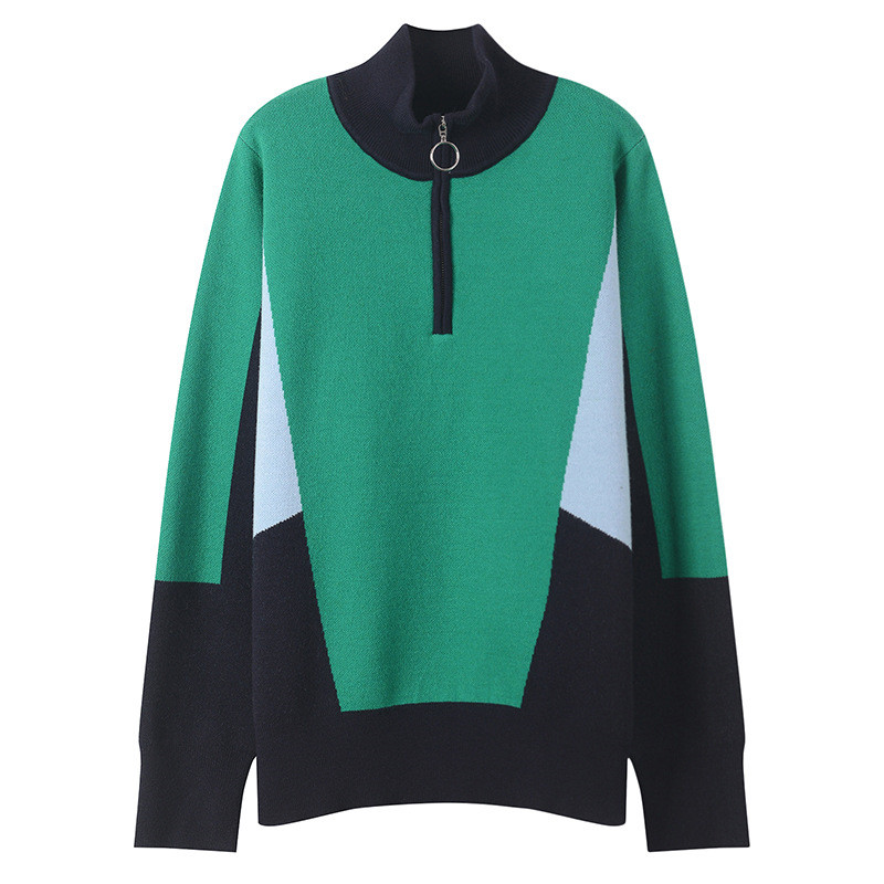 Women Sweater Plus Size Color Block Zipper Jumper Knitted Turtleneck Sweater Runway Long Sleeve Pullovers Tops