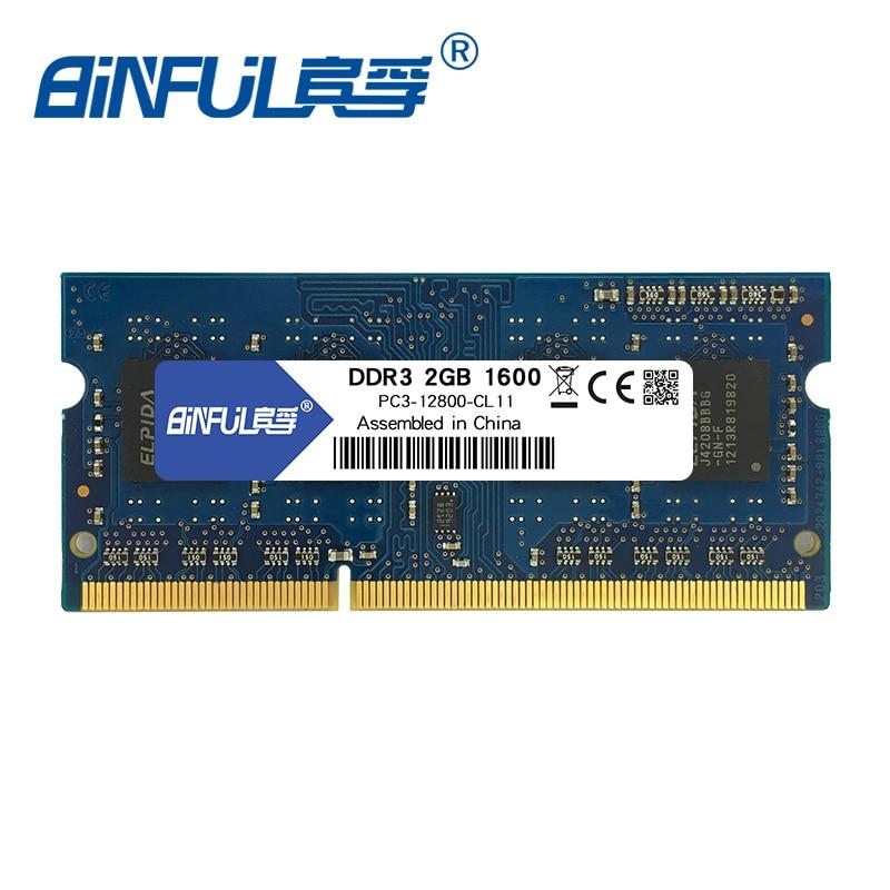Binful DDR3 2GB 4GB 1600MHz PC3-12800 memoria Ram laptop Notebook Memory sodimm 1.5V